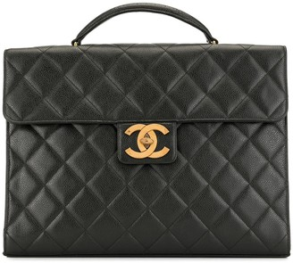 Chanel Pre Owned 1995s CC matelasse caviar skin leather briefcase