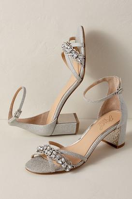 Anthropologie Jewel by Badgley Mischka Giona Block Heels By in Silver Size 5.5
