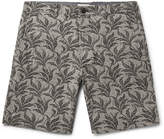 Club Monaco - Maddox Geo Leaf Embroidered Stretch Linen And Cotton-blend Shorts