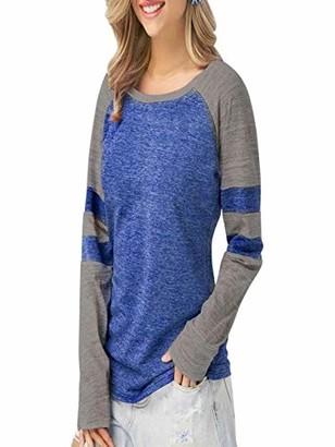 Ni Ka Shirts Fashion Women Ladies Long Sleeve Splice Blouse Tops Clothes T Shirt Blue
