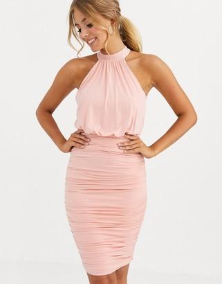 Lipsy slinky halter neck dress in blush
