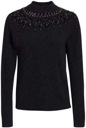 Saks Fifth Avenue Mock-Neck Embellished Cashmere Sweater