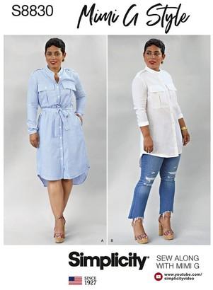 Simplicity Women's Mimi G Style Shirt Dress Paper Pattern, 8830