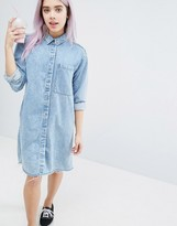 Monki Acid Wash Shirt Dress