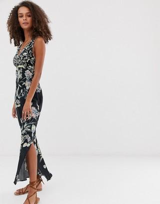 Free People Never Too Late floral print midi dress-Black