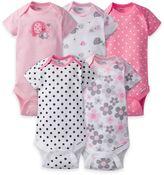 Gerber ONESIES® 5-Pack Elephant Short Sleeve Bodysuits in Pink/Grey