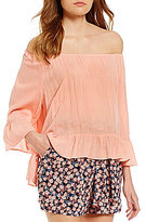 Copper Key Off-The-Shoulder Long-Sleeve Ruffle Blouse
