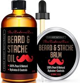 Beard Oil & Beard Balm Mens Gift Set ( 2 oz + 1.75 oz) Mustache Oil Beard Kit All Natural Beard Conditioner ( Beard Oil - Argan & Apricot Oil ) ( Balm - Musk & Amber) by Pure Body Naturals