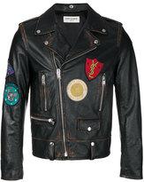 Saint Laurent classic multi-patch motorcycle jacket - men - Calf Leather - 48