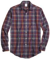 Brooks Brothers Milano Fit Brown Heathered Plaid Sport Shirt
