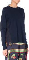 Sacai Crewneck Sweater w/Floral-Print Back