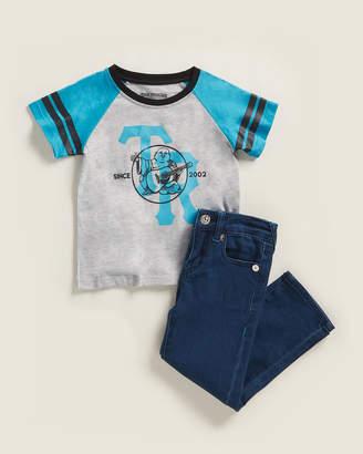 True Religion Toddler Boys) Two-Piece Short Sleeve Raglan Tee & Jeans Set