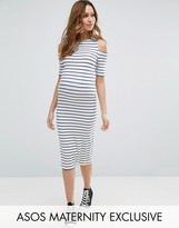 Asos Cold Shoulder Bodycon Dress in Stripe