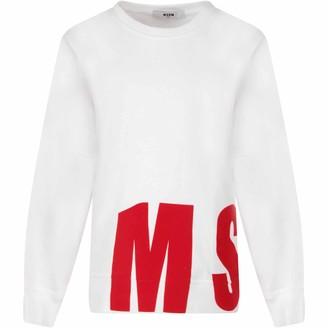 MSGM White Sweatshirt For Boy With Logo