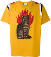 Gucci flame tabby cat motif t-shirt - men - Cotton - S