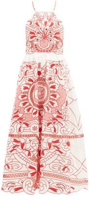 RED Valentino Floral-embroidered Cotton-poplin Midi Dress - Womens - White