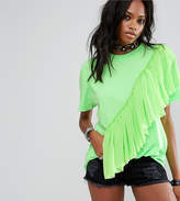 Reclaimed Vintage Inspired Festival T-Shirt With Mesh Frill In Neon