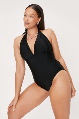 Nasty Gal Womens Hey Hey Vacay Plus Plunge Swimsuit - Black