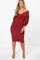 boohoo Plus Taylor Off The Shoulder Wrap Midi Dress