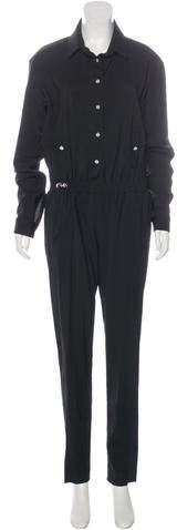 Anthony Vaccarello Resort 2016 Wool Crepe Jumpsuit