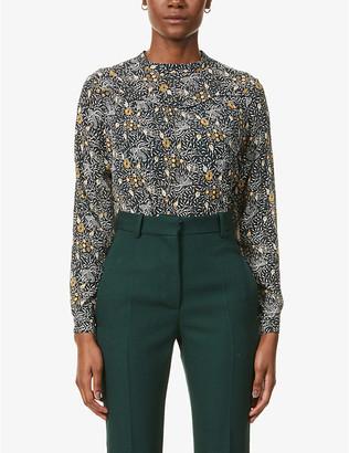 Sessun Beya floral-print semi-sheer crepe blouse