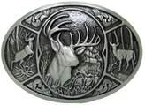Pancy Hunter Deer Hunting Western Woods Buck Southern Antler Head Belt Buckle