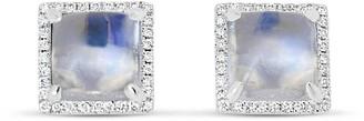 Square Moonstone & Diamond Stud Earrings