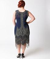 Unique Vintage Plus Size 1920s Navy Blue Embroidered Somerset Flapper Dress