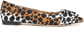 Sergio Rossi Leopard-print Scuba Point-toe Flats