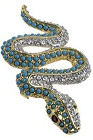 Kenneth Jay Lane Women's Gold Plated Round Turquoises White Crystals Red Eyes Snake Brooch