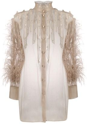 Valentino Feather Embellished Frilled Blouse
