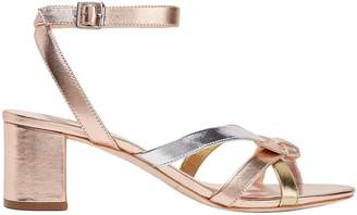 Loeffler Randall Anny Bow-detailed Metallic Leather Sandals