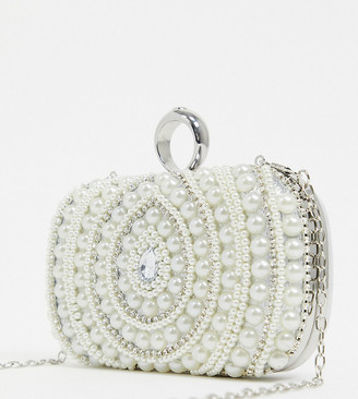 True Decadence Exclusive pearl embellished occasion box clutch bag with detachable strap