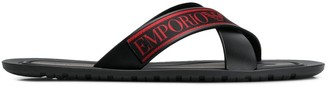 Emporio Armani logo flip flops
