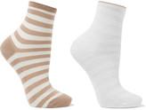 Falke Set Of Two Striped Cotton-blend Socks - Sand