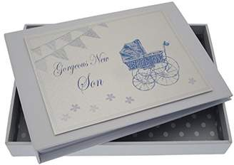 White Cotton Cards New Son Tiny Album (Blue Pram and Bunting)