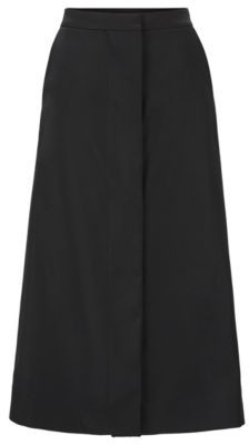 HUGO BOSS Overlapping A Line Skirt In Wool Rich Italian Fabric - Black