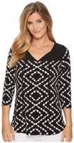 Tribal Pack and Go Travel Jersey Printed 3/4 Sleeve Top with Keyhole Women's Clothing