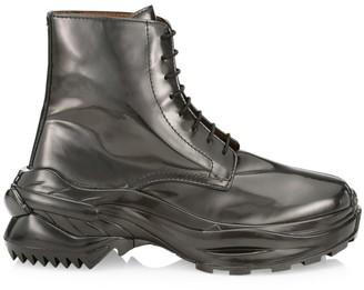 Maison Margiela Patent Lace-Up Ankle Combat Boots