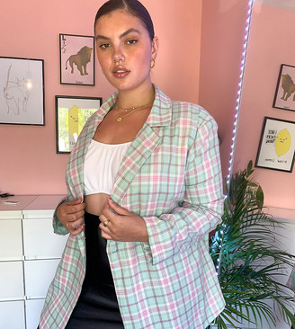 Daisy Street Plus oversized blazer in check two-piece