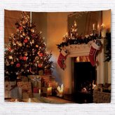 A.Monamour Retro Fireplace Pine Tree With Decorative Ornaments Kids Gifts Print Fabric Tapestry Wall Hanging Window Curtains For Room