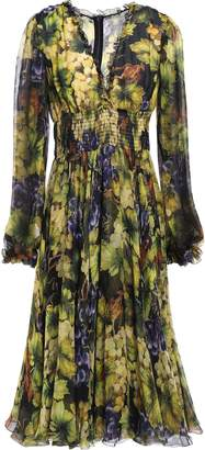 Dolce & Gabbana Ruffle-trimmed Printed Silk-chiffon Dress