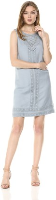 Adrianna Papell Women's LACE Trimmed Positano Linen Shift Dress