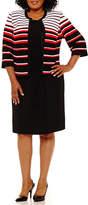 Studio 1 Sleeveless Stripe Jacket Dress - Plus