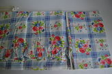 Martha Stewart Vintage Floral Roses Blue White Plaid Ruffled Cafe Tier Curtains