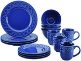 Paula Deen Dinnerware Savannah Trellis 16-Piece Stoneware Dinnerware Set in Cornflower Blue