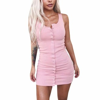 Rovinci Women's Swimwear Rovinci Womens Sheath Dress Ladies Women's Summer Sleeveless V-Neck Button Solid Color Above Knee Casual Slim Dress Single-Breasted Fashion Chic Bodycon Party Evening Mini Sexy Dress Pink