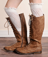 Cream Lace-Trim Boot Cuff