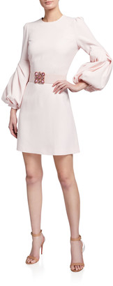 Andrew Gn Long Pleated-Sleeve Jeweled-Belt Dress