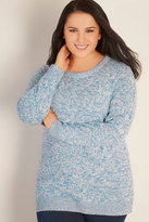 Yours Clothing Blue & White Twist Knitted Longline Jumper